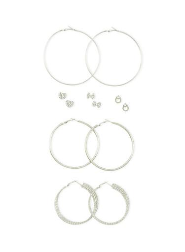 Set of 6 Rhinestone Stud and Textured Hoop Earrings,SILVER,large