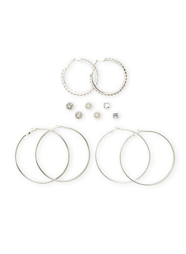 Set of 6 Hoop and Stud Earrings with Rhinestone Accents,SILVER,large