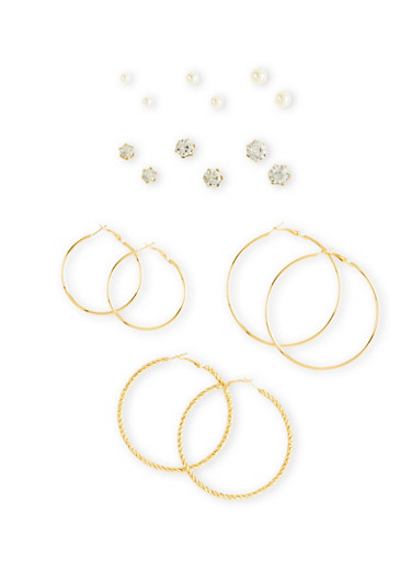 Set of 9 Hoop and Stud Earring Set with Crystal and Faux Pearl Accents,GOLD,large