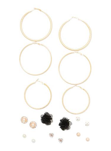 9 Piece Hoop Stud Flower Earring Set,BLACK,large