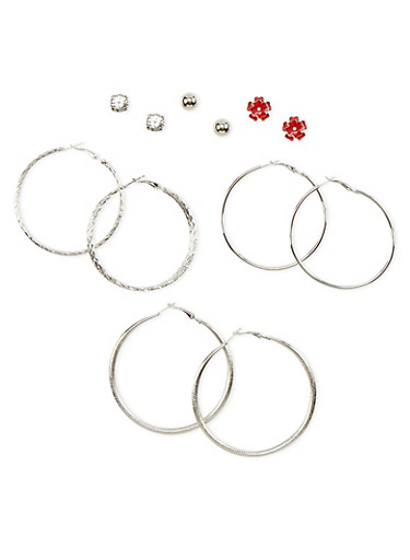 6 Piece Assorted Hoop and Stud Earring Set,SILVER,large