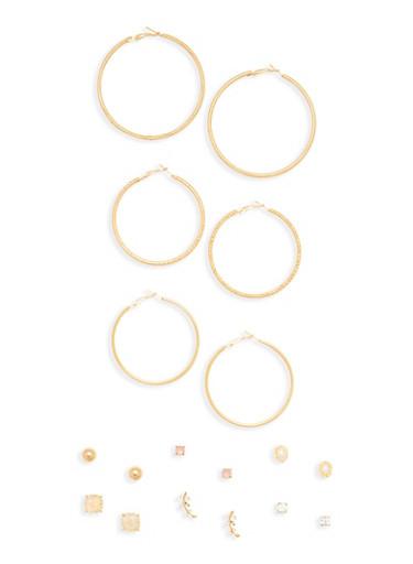 Set of 9 Hoop and Stud Earrings,GOLD,large