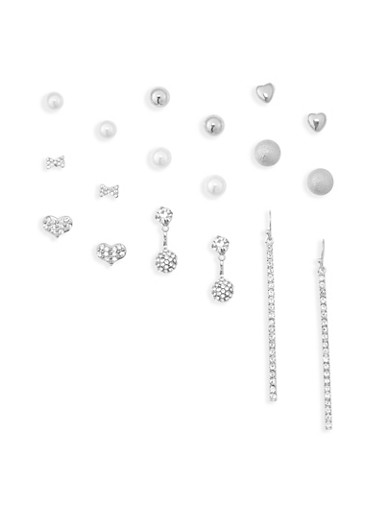 9 Piece Assorted Rhinestone Earring Set,SILVER,large