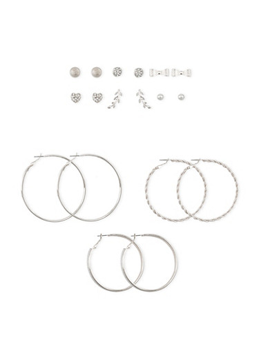 Set of 9 Asssorted Hoop Bow and Glitter Stud Earrings,SILVER,large