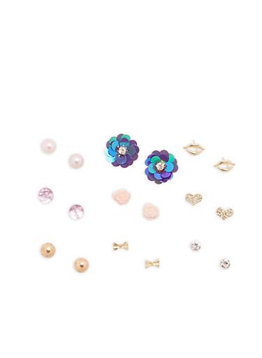 Set of 9 Stud Earrings,GOLD,large