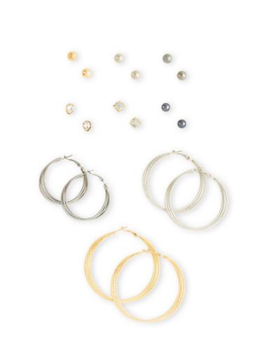Set of 9 Textural Hoops and Stud Earrings,TRITONE (SLVR/GLD/HEMAT),large