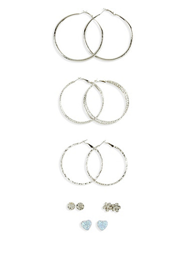Set of 6 Rhinestone Heart Flower And Hoop Earrings,SILVER,large