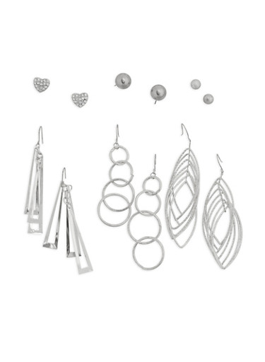 Metallic Stud and Drop Earrings Set,SILVER,large