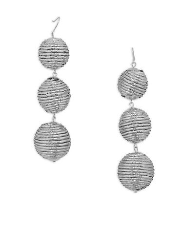 Linear Ball Drop Earrings,SILVER,large