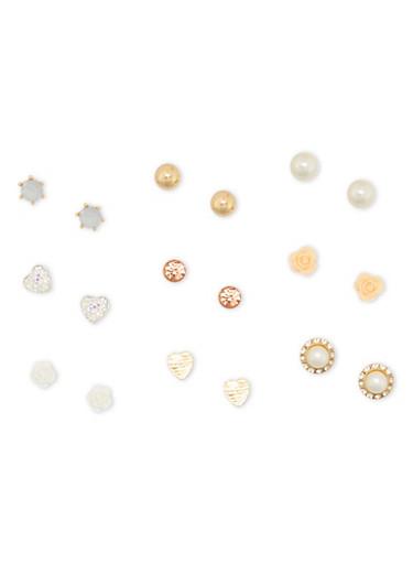 Set of 9 Ball Flower Stud Earring Set,GOLD,large