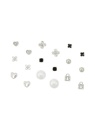 9 Piece Lock Flower Pearl Earring Set,SILVER,large