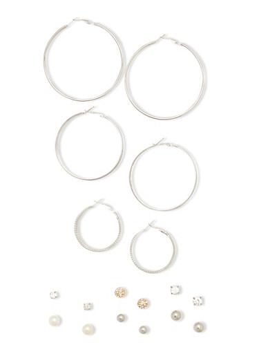 9 Assorted Hoop Stud Earring Set,SILVER,large