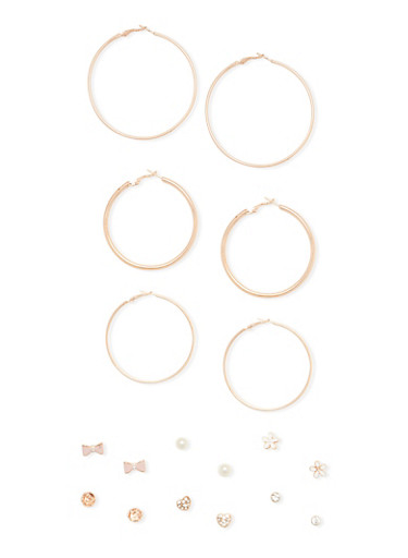 9 Piece Heart Bow Stud and Hoop Earring Set,ROSE,large