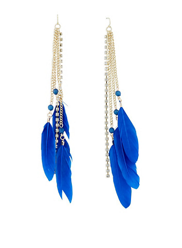 Rhinestone Chain and Feather Drop Earrings,NAVY,large