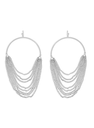 Chain Hoop Earrings,SILVER,large