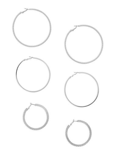 Set of 3 Hoop Earrings,SILVER,large