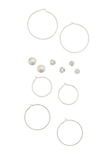 Set of 6 Assorted Hoop and Stud Earrings,SILVER,large