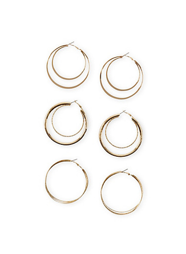 Set of 3 Double Hoops with Textural Accents,GOLD,large