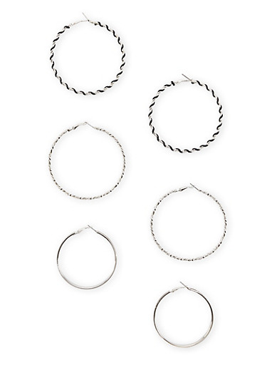 Set of 3 Twist Hoop Earrings With Glitter,SILVER,large