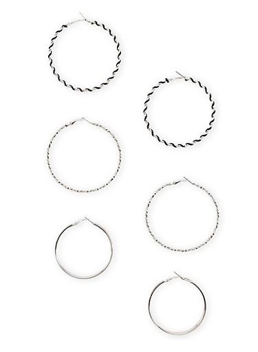 Set of 3 Twist Hoop Earrings With Glitter,SILVER,large