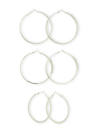 Set of 3 Hoop Earrings With Glitter And Rhinestones,SILVER,large