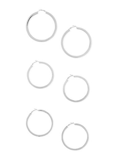 Set of 3 Laser Cut Glitter Hoop Earrings,SILVER,large