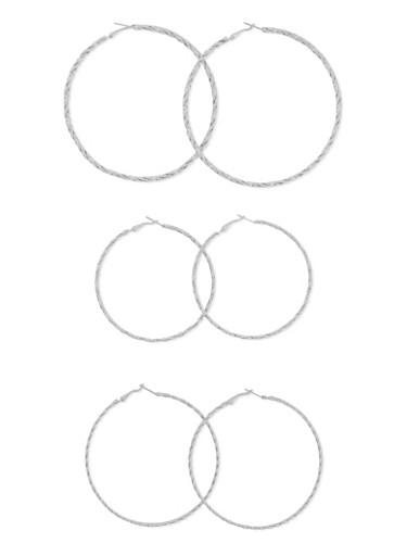 Set of 3 Twist Hoop Earrings,SILVER,large