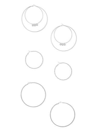 Set of 3 Assorted Large Hoop Earrings,SILVER,large