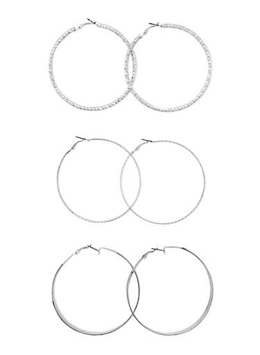 Set of 3 Textured Glitter Hoop Earrings,SILVER,large