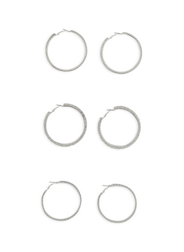 Trio of Glitter and Textured Hoop Earrings,SILVER,large