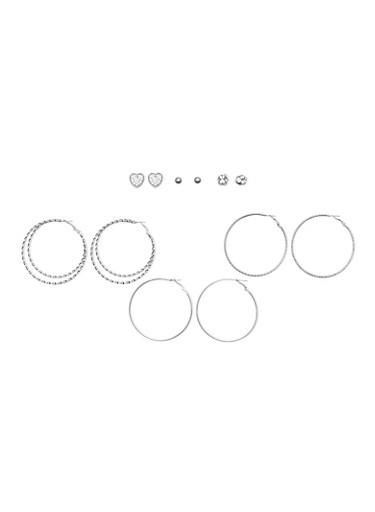 Set of 6 Hoop and Stud Earrings,SILVER,large