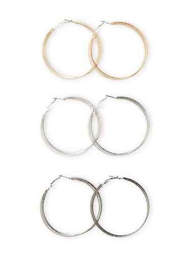 Set of 3 Tiered Hoop Earrings,GOLD,large