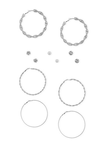 Set of 6 Twist Hoops with Assorted Stud Earrings,SILVER,large