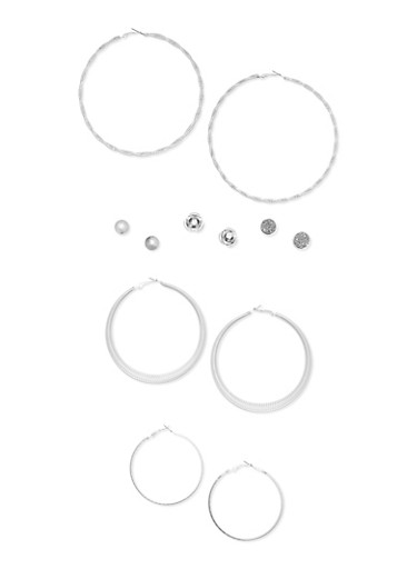 Extra Large Trio Hoop Earring Set with Assorted Studs,SILVER,large