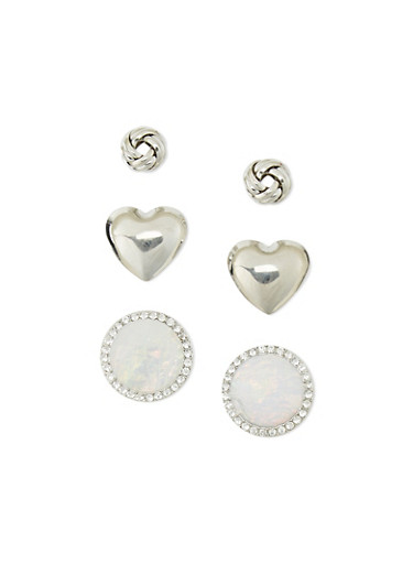 Trio Knot Heart Dome Stud Earrings,SILVER,large