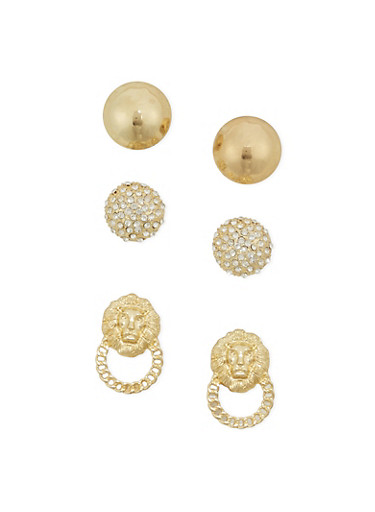 Assorted Gold Stud Earring Set,GOLD,large