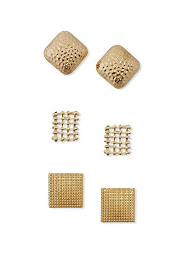 Square Textured Metallic Earring Trio,GOLD,large