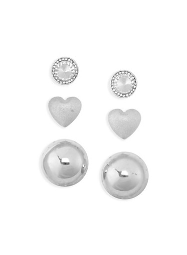 Trio Dome Heart and Stud Earrings,SILVER,large