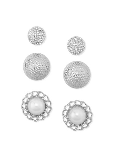 Trio Pearl Dome Stud Earrings,SILVER,large