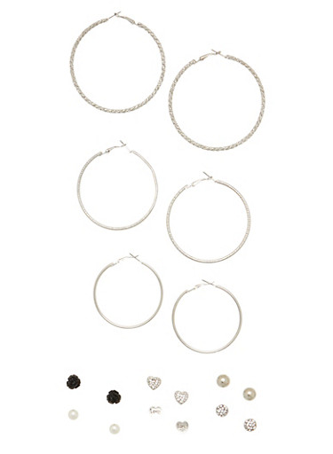 9 Piece Assorted Hoop Flower Stud Earring Set,SILVER,large