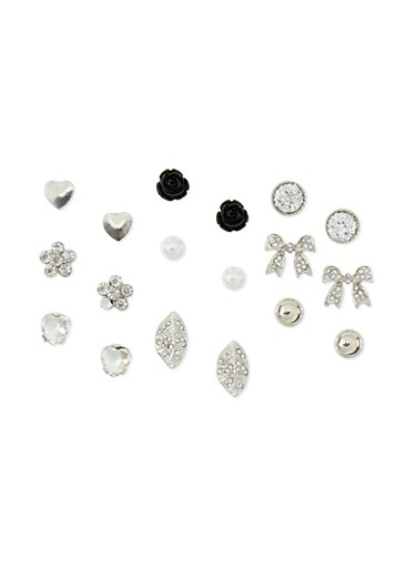 Set of 9 Assorted Leaf Rose Stud Earrings,SILVER,large