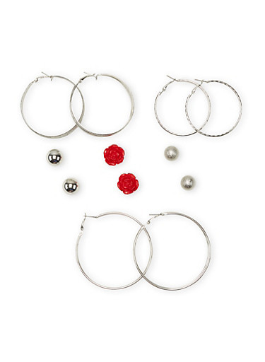 Set of 6 Hoop And Large Stud Earrings with Rose and Glitter Accents,SIVLER/RED ROSE,large