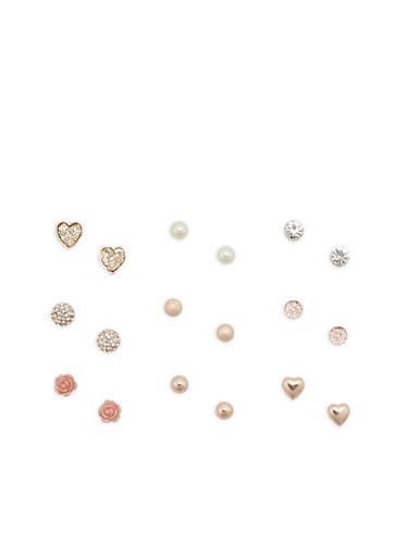 Set of 9 Assorted Stud Earrings,TRITONE (SLVR/GLD/HEMAT),large