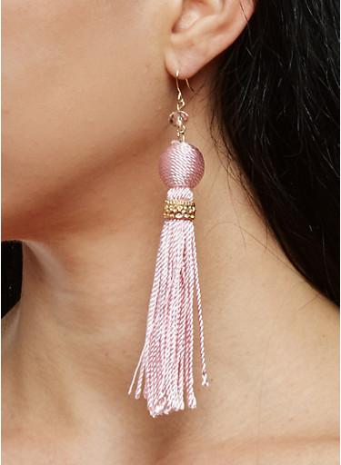 Thread Wrapped Bead Tassel Drop Earrings,BLUSH,large