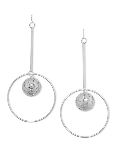 Chandelier Earrings with Encircled Mini Disco Ball,SILVER,large