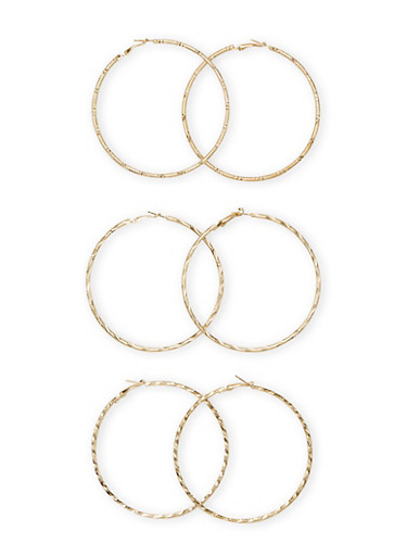 Set of 3 Textural Hoop Earrings,GOLD,large