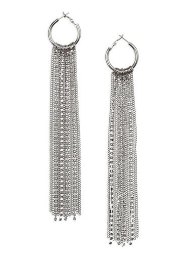 Rhinestone Chain Fringe Hoop Earrings,SILVER,large