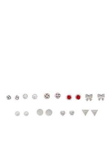 Set of 9 Rhinestone Stud Earrings,SILVER,large