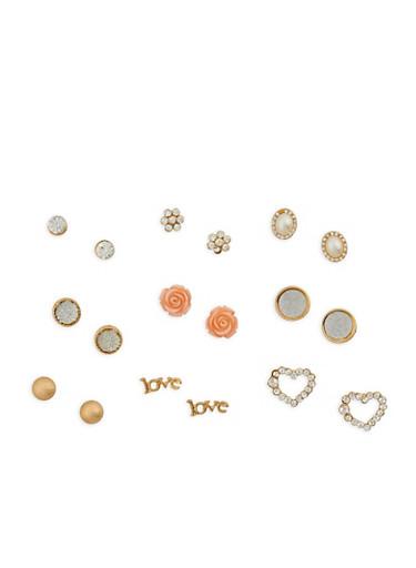 Flower Stud Earrings Set,GOLD,large