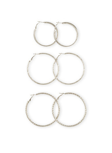 Set of 3 Textural Hoop Earrings with Glitter Accents,SILVER,large